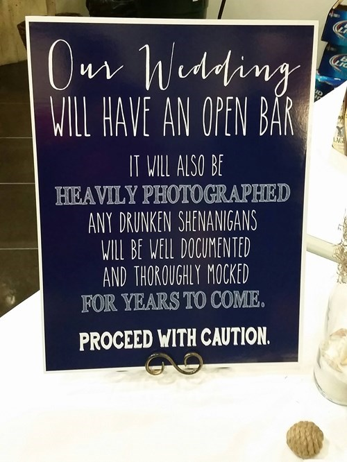 the dangers of a wedding with an open bar