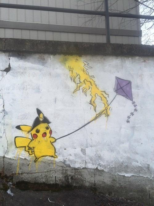 Pokémon,Benjamin Franklin,graffiti,pikachu