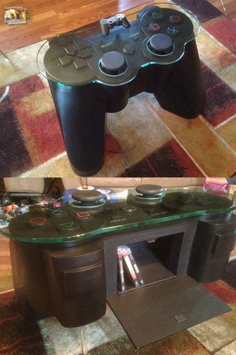 geeky merch ps3 controller coffee table