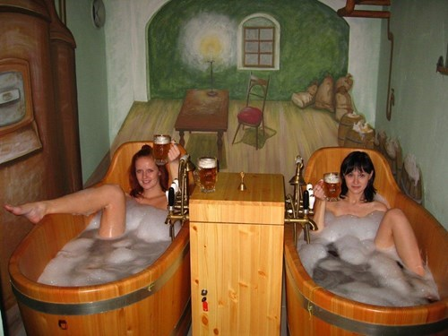 everyone enjoys a beer bath