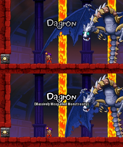 dragon shantae misspelling