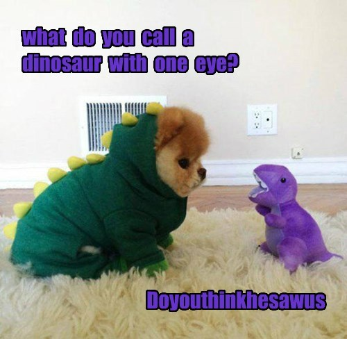 pun meme of dog asking a dinosaur like Barney about 1-eyed puns