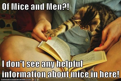 Of Mice and Men?! I don't see any helpful information about mice in here!