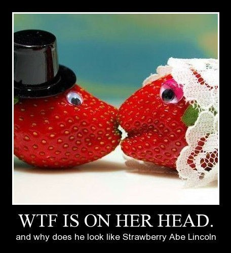 top hat wedding kissing strawberry doily