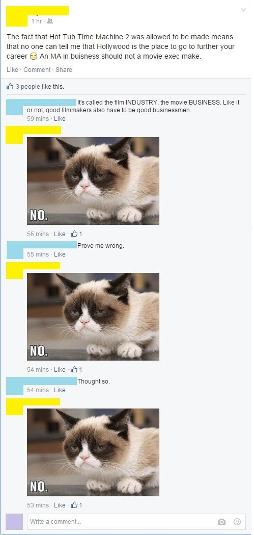 Grumpy Cat comments clever hollywood argument