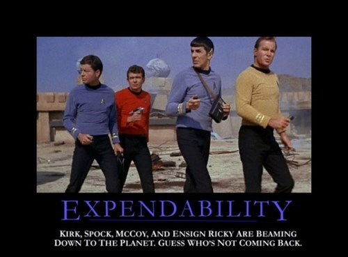 red shirt,expendables,Spock,Star Trek,funny