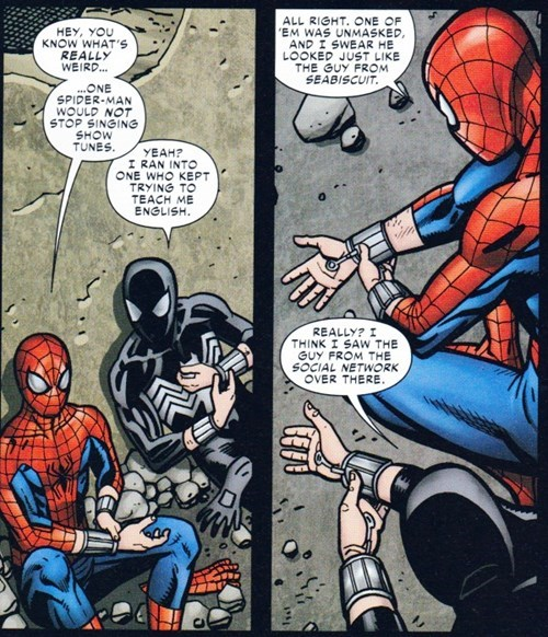 superheroes-spiderman-marvel-andrew-garfield-tobey-maguire-reference-in-spider-verse-comic