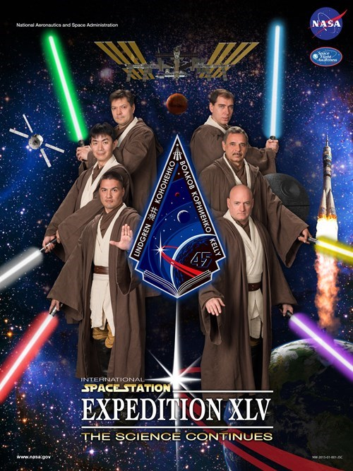 geek news nasa astronauts dressed as jedis for official portrait