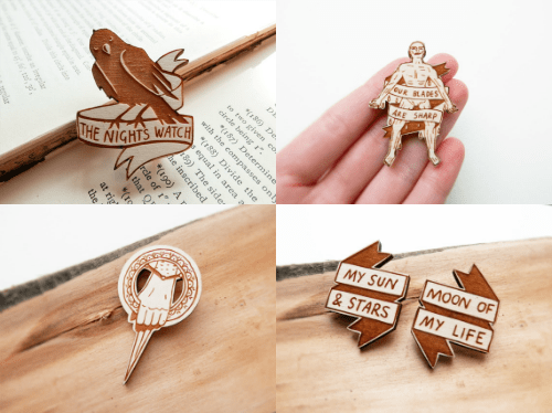 geeky merch game of thrones wood brooch