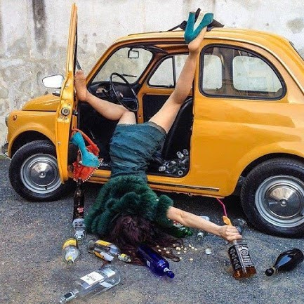 Don't drink and drive, even when your car is a tiny bubble