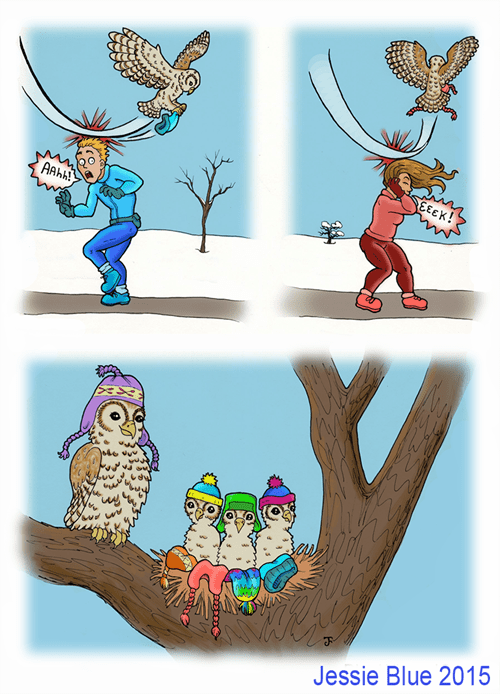 funny animals comics winter fashion owls