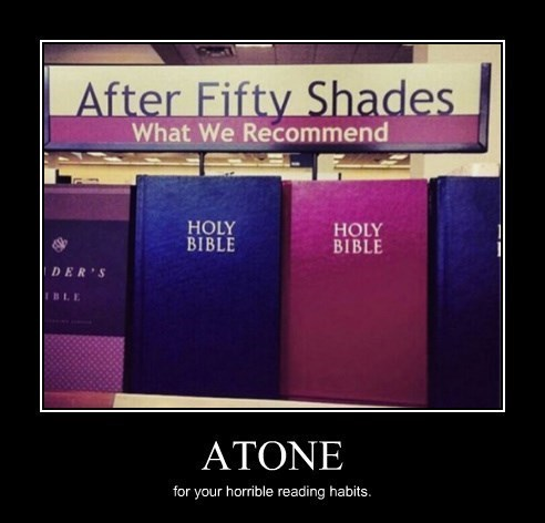 bible,books,50 shades of grey,funny