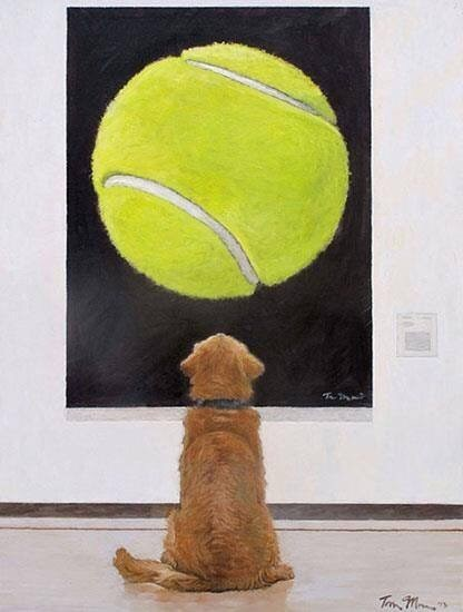 dogs dreams painting tennis ball - 8448181760