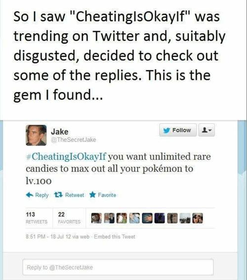 Pokémon twitter hashtags cheatingisokayif - 8448382464