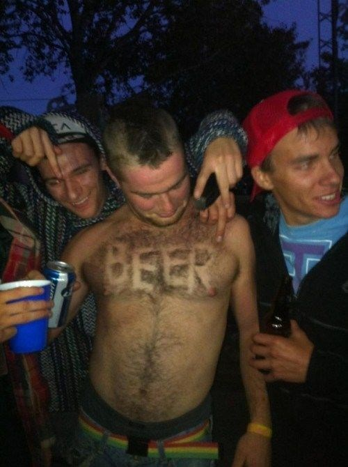 shave beer into your chest hair