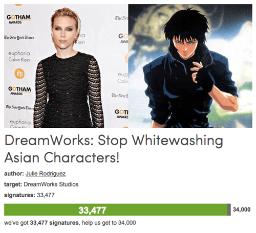 geek news petition against scarlett johansson ghost in the shell