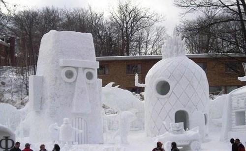 cartoon memes spongebob snow sculpture