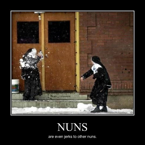 snowball,fight,funny,nun
