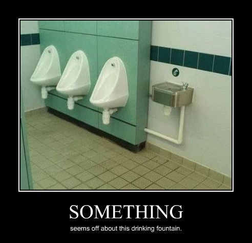 water fountain bad idea urinal funny - 8448980480