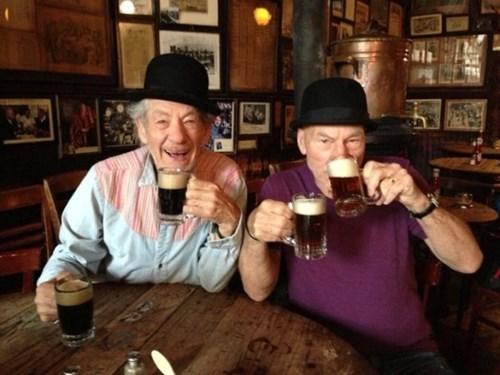 drinking beer with Ian Mckellen and Patrick Stewart