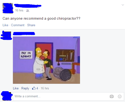 clever,homer simpsons,the simpsons,chiropractor,failbook,g rated