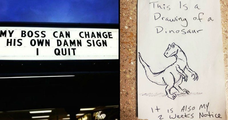 funny quitting notice left by employees