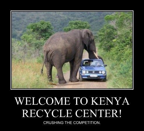 volkswagen,elephant,recycling,funny,crush