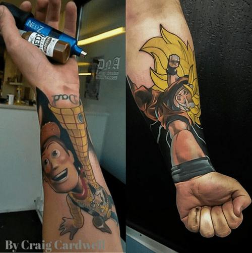 anime tattoos toy story dbz
