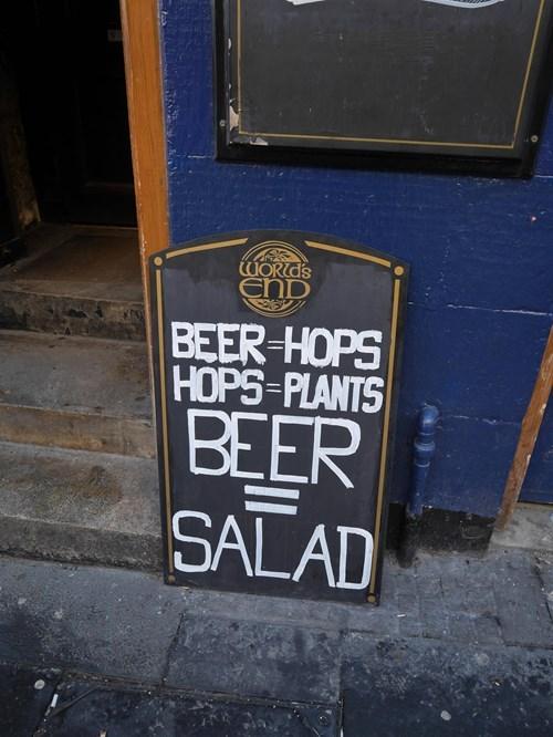 beer and hops make a great salad