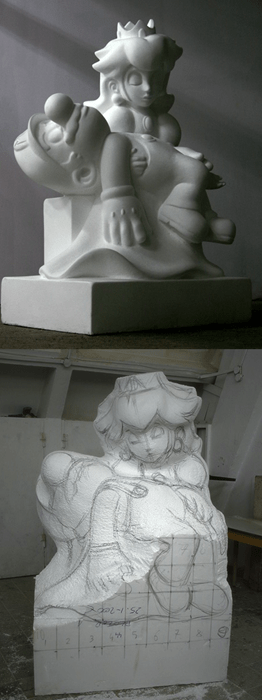 geeky art super mario bros pieta sculpture