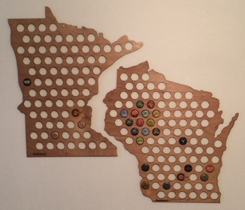 bottle caps from the great state of wisconsin and michigan