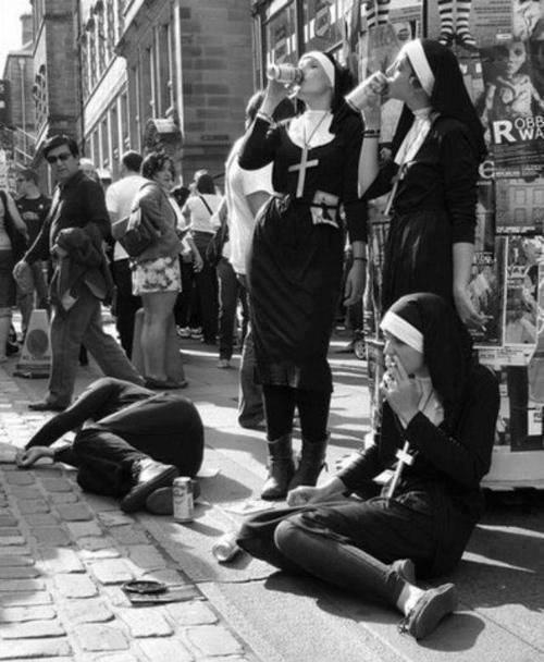 Who knew nuns got drunk in public.
