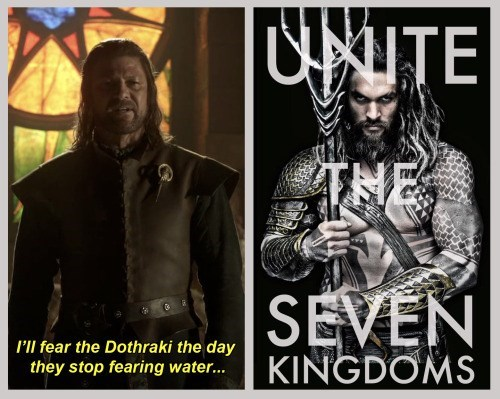 geek memes game of thrones aquaman dothraki fear water