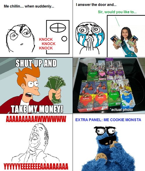 shut up and take my money,girl scout cookies,girl scouts,aww yea