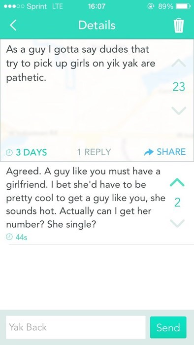 dating on yik yak