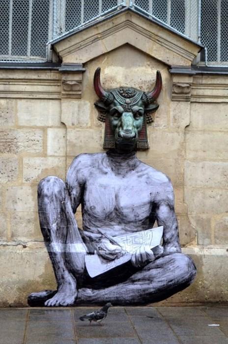 epic-win-pics-street-art-minotaur