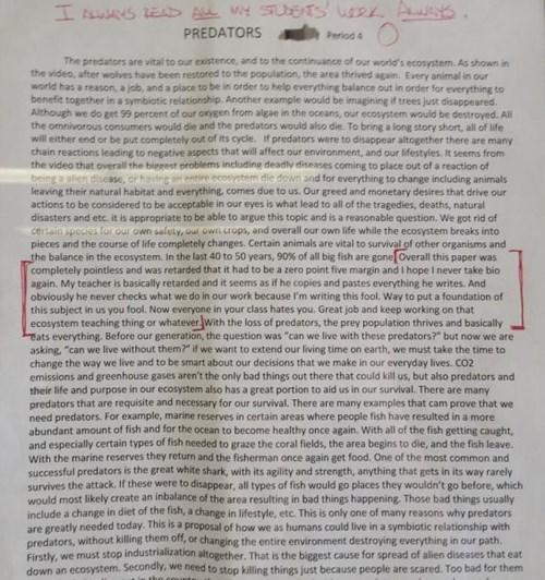 teacher's note on block of text