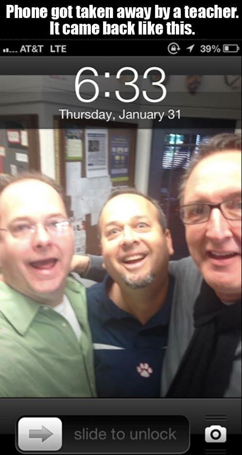 Face - Phone got taken away by a teacher. It came back like this. @ 39% AT&T LTE 6:33 Thursday, January 31 slide to unlock