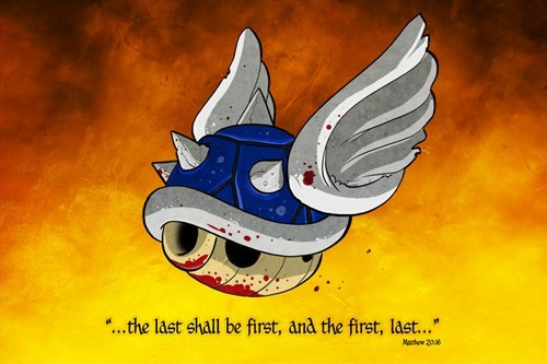 blue shell religion the bible Mario Kart spiny shell
