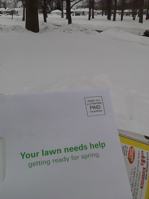 lawn,spring,snow,irony,mail