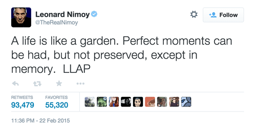 geek news leonard nimoy touching last tweet