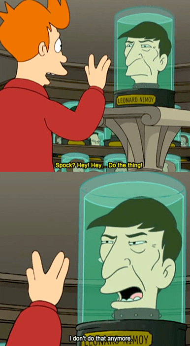 cartoon memes leonard nimoy head museum futurama