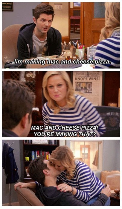 mac and cheese pizza really revs her engine