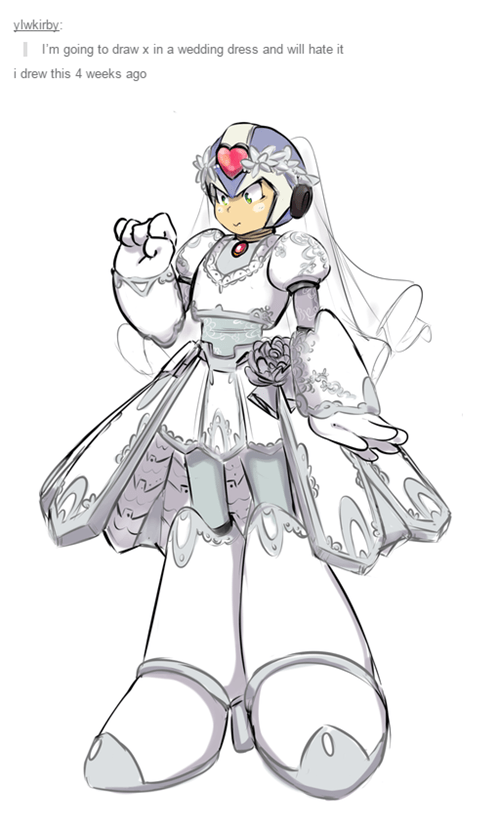 mega man x,Fan Art,wedding dress
