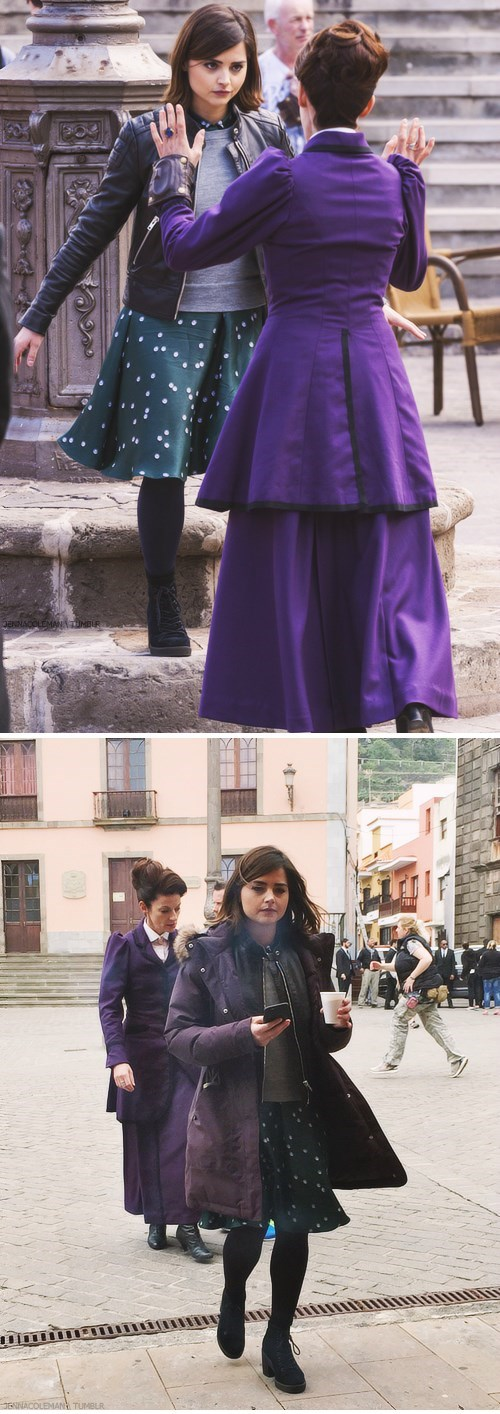 Jenna Coleman and Michelle Gomez Caught On Set In Spain