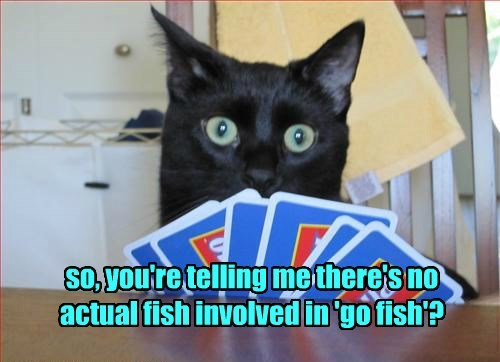 so, you're telling me there's no actual fish involved in 'go fish'?