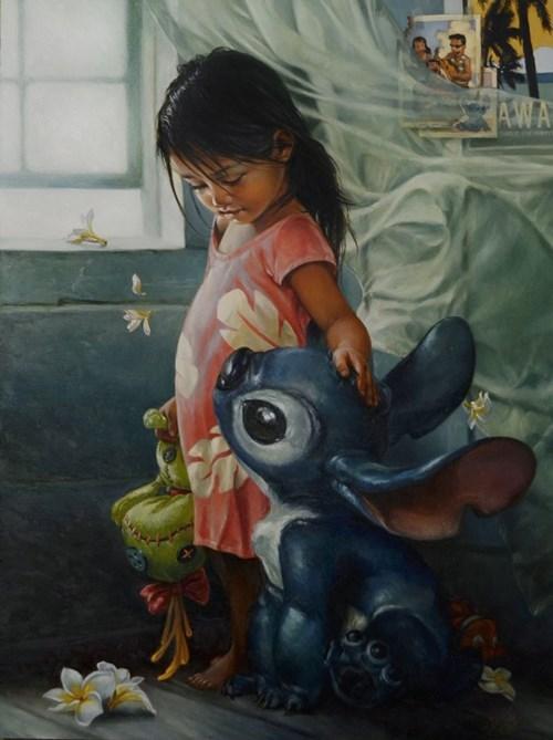 disney fan art lilo and stitch realistic