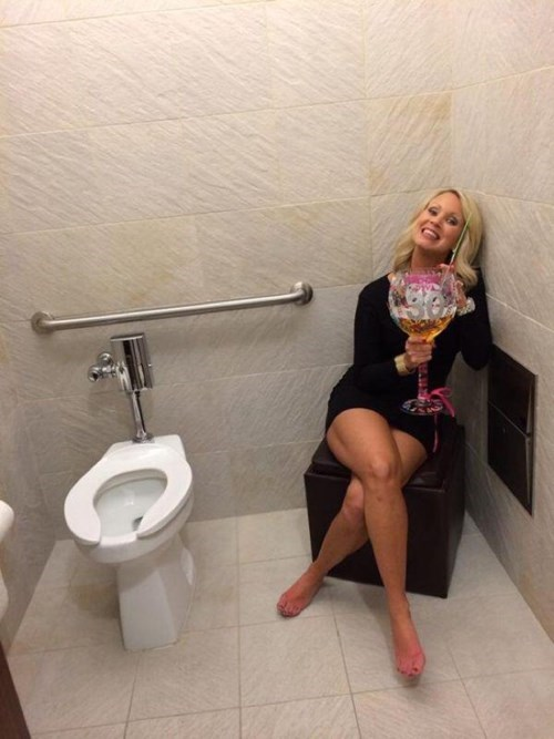 always drink in the bathroom