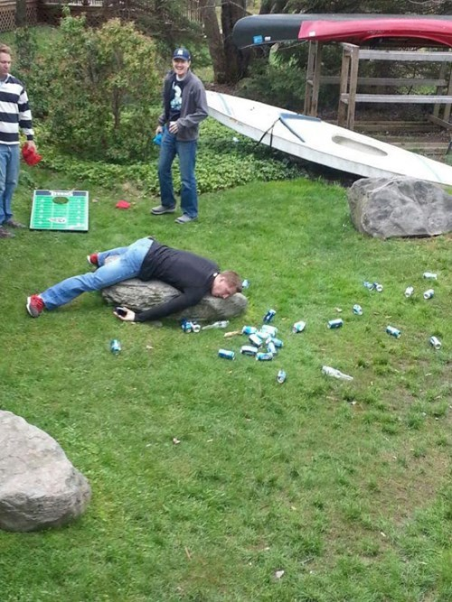 never pass out while playing cornhole, you'll lose.
