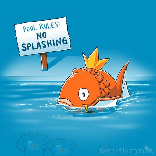 The struggle is real for this Pokemon Magikarp who is in the pool area with no splashing.